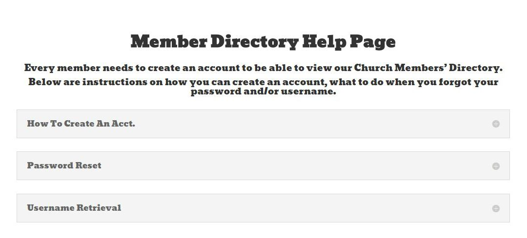 Member Directory Instructions